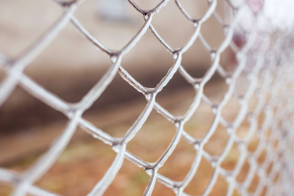 Ice-covered metal mesh
